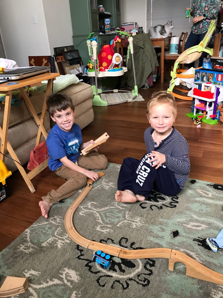 Ian and Dylan playing trains